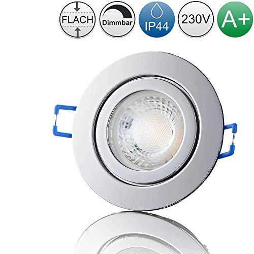 lambado® Premium LED Spot IP44 Flach Chrom - Hell & Sparsam inkl. 230V 5W Strahler warmweiß dimmbar - Moderne Beleuchtung durch zeitlose Bad-Einbaustrahler/Deckenstrahler für Außen