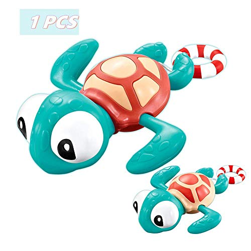 VCOSTORE Baby Badespielzeug, Ziehen Sie Saite Turtle Toy Lustiges Schwimmspielzeug Pädagogisches Badespielzeug für Kinder Kleinkind