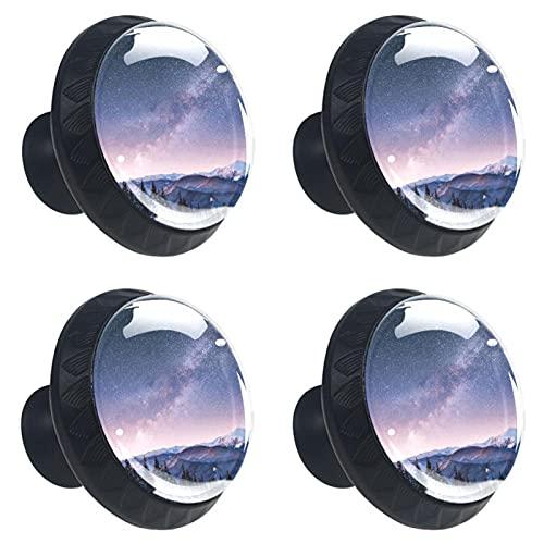Dairy Star Trek Lot de 4 boutons de tiroir ronds avec vis pour maison, bureau, cuisine, commode, armoire, placard