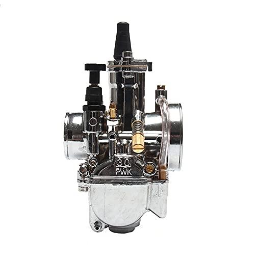 WAZDV Motocicleta PWK Carburador de Placas de Plata con carburador de hidromasaje 28 30 32 34 MM Carbohidrato por 2T 4T Motor del Scooter del Motor (Color : 30mm)