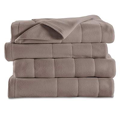 Sunbeam Heated Blanket | 10 Heat Settings, Quilted Fleece, Mushroom, Twin - BSF9GTS-R772-12A00 by Sunbeam