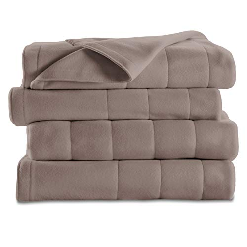 Sunbeam Heated Blanket | 10 Heat Settings, Quilted Fleece, Mushroom, Queen - BSF9GQS-R772-13A00