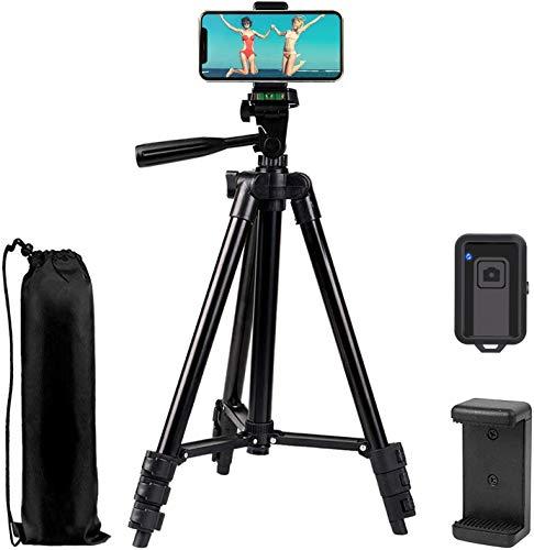 Handy Stativ, iPhone Stativ Kamerastativ mit Handyhalterung und Bluetooth Fernbedienung, Dreibein Lightweight Tripod für Smartphone/GoPro