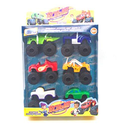 6 Unids / Lote Monster Machines Rusia Kid Toys Blaze Milagro Cars Blaze Vehicle Car Toys con Caja Original Los Mejores Regalos - Multicolor