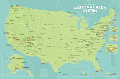 Best Maps Ever National Park System Units Map 24x36 Poster (Green & Aqua)
