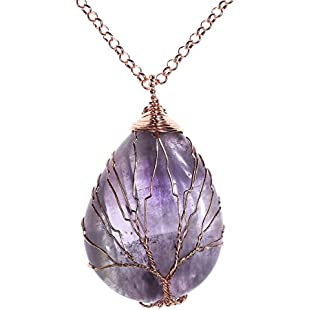 Customer reviews QGEM Amethyst Gemstone Tree of Life Pendant Necklace,Handmade Copper Wire Wrapped Jewelry,Healing Chakra:Elektrikmalzemeleri