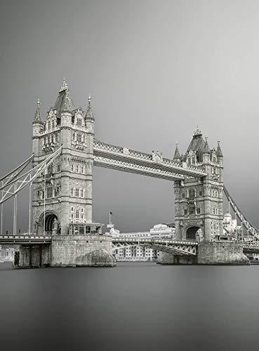 Fototapete Tower Bridge London Vliestapete Schwarz-Weiß London in grau weiß schwarz 192 x 260 cm XXL Wandtapete Wandbild 119089