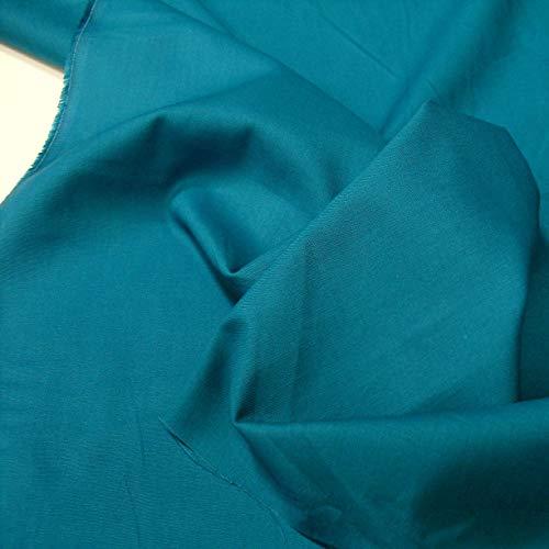 TOLKO Baumwollstoff | 42 kräftige ÖkoTex Farben Baumwoll-Nesselstoff Uni Kleiderstoff Dekostoff | Baumwolle Meterware 150cm breit | Vorhang-Stoff Bezugsstoff Webstoff 50cm (Petrol Blau)