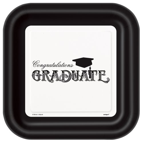 8 x Graduation Mortar Board party papier platen 9 inch Gewoon Grad