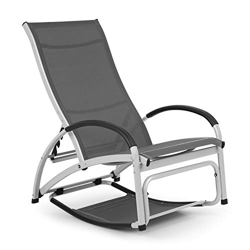 blumfeldt Beverlywood Sonnenliege Schaukelstuhl (Gestell aus Aluminium, 4-Fach verstellbare Rückenlehne, DualComfort, Material: 70% PVC und 30% Polyester Comfort Mesh, Edelstahlschrauben) grau