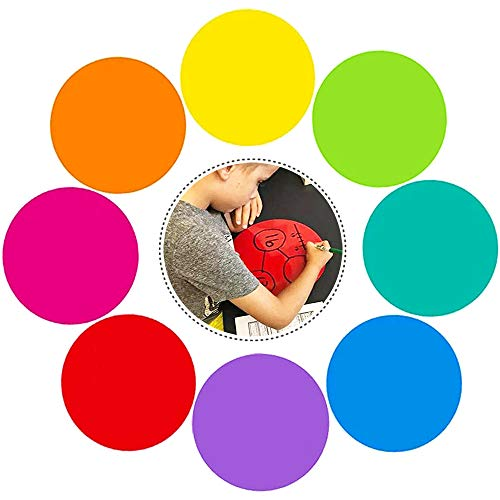 8 PCS 11 Inch Dry Erase Dots Circles,Removable Vinyl Dot Wall Decal,Colorful Circles Whiteboard Marker for Drills and Training School Teaching Progress(8 Colors)