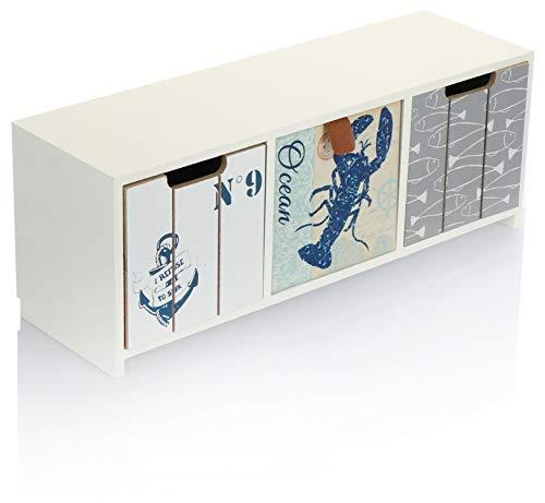 com-four® Mini-Kommode mit 3 Schubladen - Holz-Schränkchen im maritimen Design - Mini-Schrank zur Aufbewahrung von Schmuck, Kosmetik und Kleinkram (1 Stück - 33x10x12-3 Schubladen)