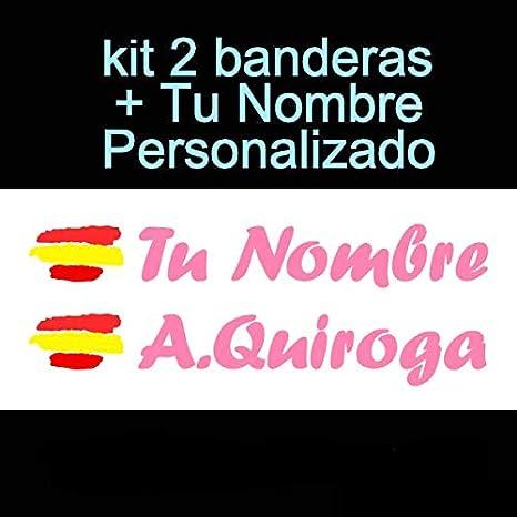 Vinilin - Pegatina Vinilo Bandera España + tu Nombre - Bici, Casco, Pala De Padel, Monopatin, Coche, etc. Kit de Dos Vinilos (Rosa): Amazon.es: Deportes y aire libre