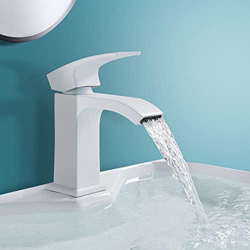 Onyzpily Grifo mezclador monomando para lavabo, diseño de cascada, moderno