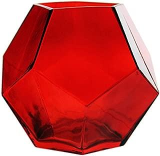 CYS EXCEL GGV101/06R-1P Glass Geometric, Prism, Honeycomb Vase (H-6