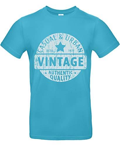 Smilo & Bron Herren T-Shirt mit Motiv Vintage Badge Bedruckt Türkis Swimming Pool M
