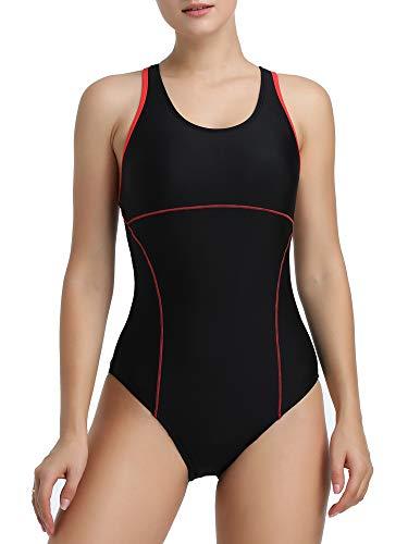 Joyaria Womens Athletic Racerback One Piece Swimsuits Traning Racing Bathing Suit Sport Swimwear (Black, Large)