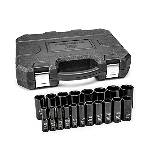 GEARWRENCH 19 Piece 1/2 Inch Drive 6 Point Impact Socket Set, Deep, SAE - 84934N