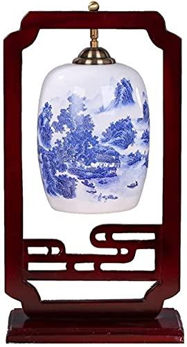 Lámparas de mesa Vintage Hecho a mano Asiáticas Oriental Cerámica Cera de cama Lámpara Marco de madera Cerámica Lámpesada Diseño moderno para sala de estar Dormitorio familiar