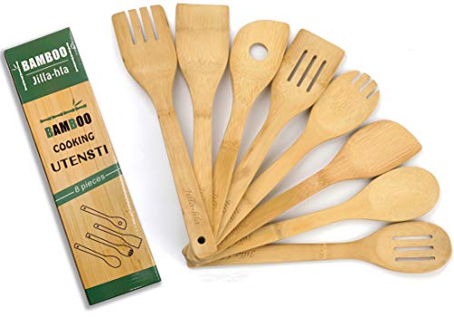 Wooden Spoons for Cooking, 8-Pie, Organic Bamboo Utensils Set, Nonstick Kitchen Utensil Set, Intimate kitchen gifts, Spatulas,Salad Fork,Jilla-hla