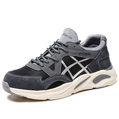 CHNHIRA - Zapatos de seguridad para hombre y mujer S3, ligeros, deportivos, transpirables, con puntera de acero, color Gris, talla 41 EU