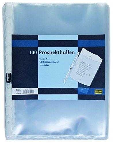 Idena 376010 - Prospekthüllen DIN A4 Format, dokumentenecht, glasklar, 60µ, 100 Stück