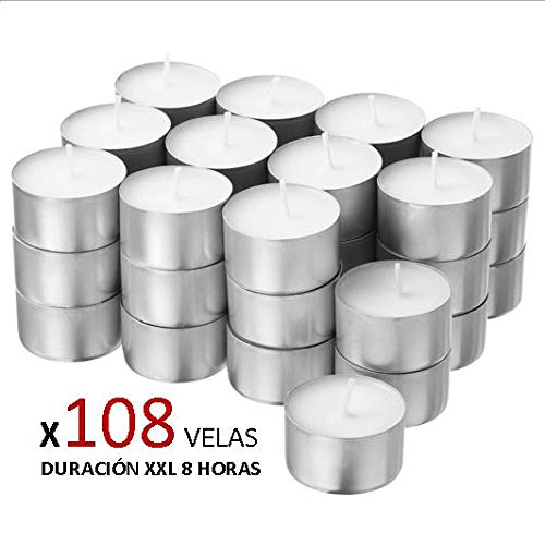 Cia&Co Pack 108 Velas de té XXL Larga Duración 8 Horas. Vela Blanca sin Aroma de Parafina. Ideal Hosteleria