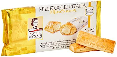 Matilde Vicenzi MilleFoglie D'Italia Mini Snack mit heller Cremefüllung, Italienisches Blätterteiggebäck mit zarter heller Cremefüllung, Mini Snack 125g