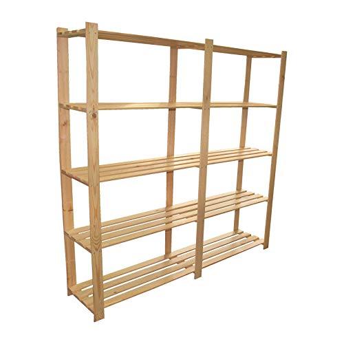 170 x 170 x 37cm großes Holzregal mit 5 Lattenböden Ordnerregal Aufbewahrungsregal Holz Unbehandelt Archiv ideal für Ordner Lagerregal