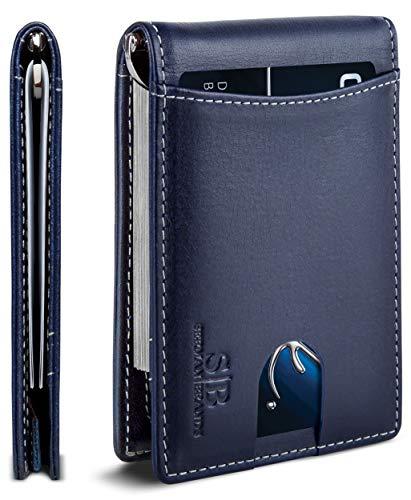 SERMAN BRANDS RFID Blocking Slim Bifold Genuine Leather Minimalist Front Pocket Wallets for Men with Money Clip Thin Gift (Atlantic Blue 1.S)