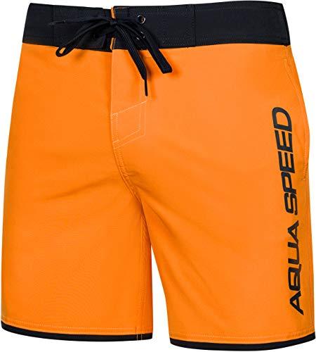 Aqua Speed Herren Badehose lang | Badeshorts für Männer | Lange Schwimmhose Strand | Mens Swimwear | Beachvolleyball Swim Trunks | Schwimmbekleidung mit Kordelzug | Gr. M, Orange | Evan