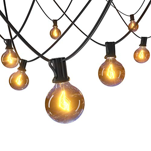 52FT Outdoor String Lights Connectable Patio Light with 5W Edison G40 Globe Bulbs 24 E12 Hanging Socket, 2700K Waterproof Cafe String Bistro Lighting for Party Porch Backyard Balcony Deck Garden Decor