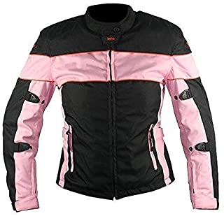 Xelement CF462 `Pinky` Women`s Black and Pink Tri-Tex Fabric Motorcycle Jacket with X-Armor Protection - Small