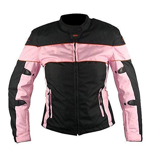 Xelement CF462 Women's' Pinky' Black and Pink Tri-Tex Motorcycle Jacket with X-Armor Protection - Medium