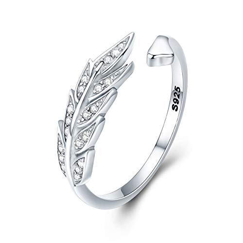 FOREVER QUEEN Feather Ring 925 Sterling Silver, Adjustable Open Plumage Wing Finger Ring for Wife Girlfriend Daughter Mother Sister for Birthday Wedding Anniversary Engagement Valentine's Day BJ09068