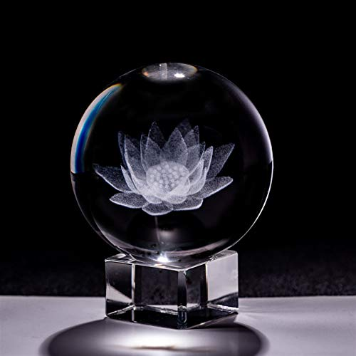 Divination Sphere Crystal Ball Fortune Telling Bal 60mm 3d Carving Crystal Ball Paperweight with Stand Healing Meditation Glass Sphere Fengshui Home Decor Ornaments Lotus Flower for Decorative Ball