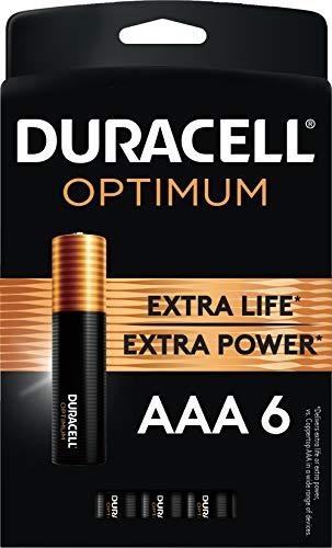 Duracell Optimum AAA Batteries | 6 Count Pack | Lasting Power Triple A Battery | Alkaline AAA Battery Ideal For Household And Office Devices | Resealable Package For Storage