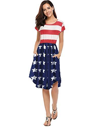 Halife Women's July 4th American Flag Printed Dolman Sleeve Midi Dress XL, Bold Stripe
