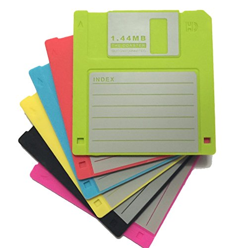 Novelty Design Silicone Drink Coasters Blanked label Retro 3.5 Inches Floppy Disk All-weather, 4.7 x 3.6', Set of 6 Black, Red, Yellow, Blue, Cherry, and Green
