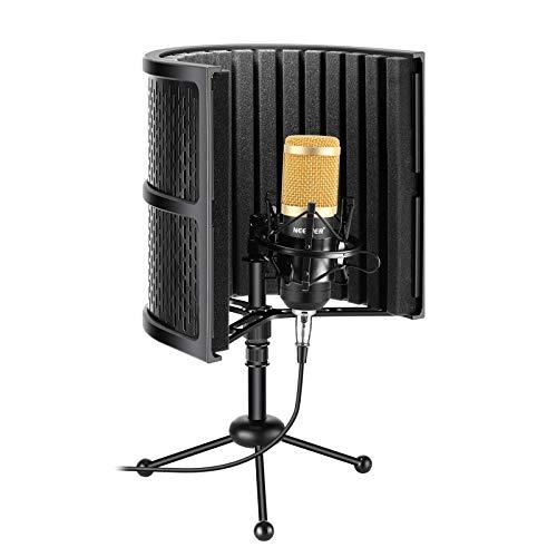 Neewer Escudo Aislamiento Micrófono Compacto Mesa con Espuma Absorbente, Micrófono de Condensador, Montura de Choque, Soporte Trípode, Cable de Audio para Estudio Podcasts Grabación Sonido