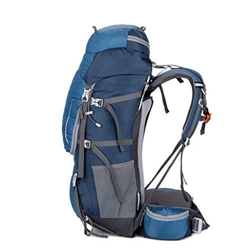 MU Outdoor-Sportrucksack Tragbar 60L, ultraleichter Aluminiumrahmen, wasserdichte Nylon-Bergsteiger-Tasche, Wandern auf Camping-Ski mit Regenschutz,ROT