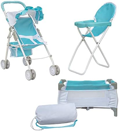 Olivia s Little World 3 in 1 Baby Doll Nursery Play Set Accessories Doll Stroller for Kids Blue product image