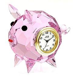 JAS Crystal Pig Table Clock