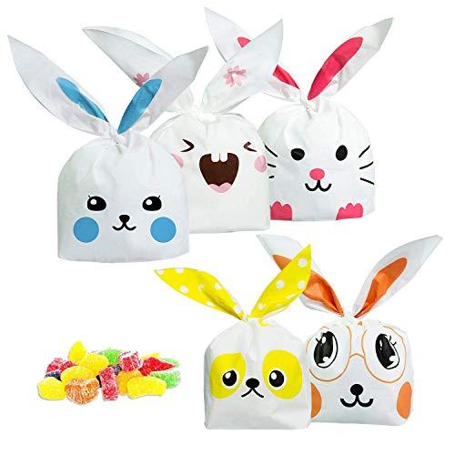 ARTMOVA Sacchetti Compleanno, Sacchetto per Caramella Confetti Borsa di Regalo Sacchetto Coniglietto di Forma del Coniglio Sacchetti di Biscotto … (50PC)