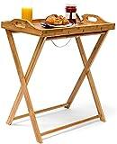 Tienda Eurasia® Mesa auxiliar plegable, Diseño Moderno Natural, bandeja para desayuno, 50x36x65,5cm