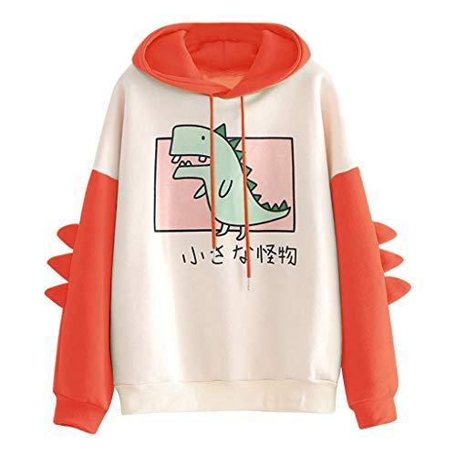 Kapuzenpullover Damen Sweatshirt Casual Dinosaurier Print Hoodie Pullover Langarm Kapuzenshirt Kleine Monster Drucken Kapuzenpulli Spleiß Langarmshirts Tops, Orange, S