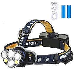 top 10 headlamps Rechargeable Headlights, Elmchee 6 LED 8 Mode 18650 USB Rechargeable Waterproof Headlights…