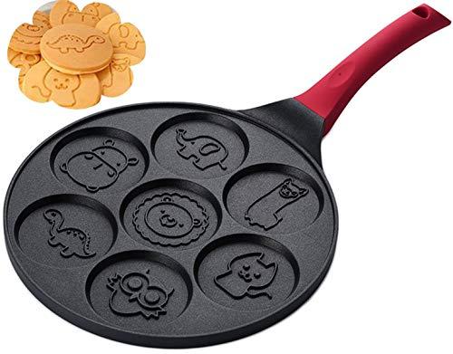 Lawei Pancake Pan with Silicone Handle  10 Inch Grill Pan Nonstick Griddle 7 Cavity Mini Pancake Maker for Baking Cake Pancke Animal