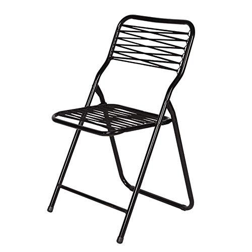 YAeele Silla plegable simple Muebles Silla Silla de oficina Silla plegable del ordenador principal trasero de la silla plegable silla de metal plegable Negro (Color: Negro, Tamaño: 48x48x85cm) Adecuad