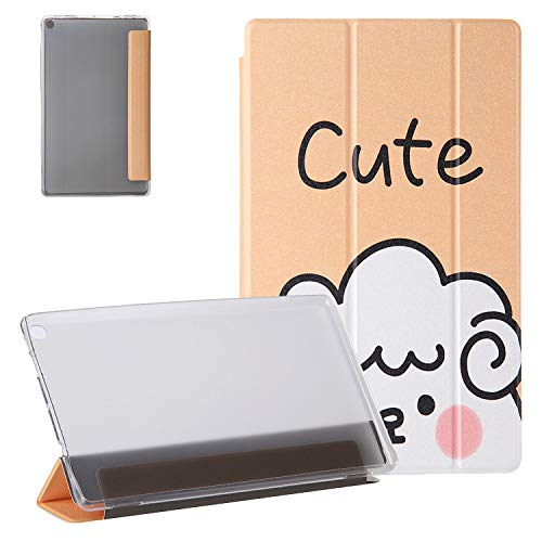 Case for Kindle Fire HD 10.1' 9th Gen 2019/7th Gen 2017/5th Gen 2015, UGOcase Trifold PU Leather Trifold Stand Auto Sleep Wake Translucent Cover for Amazon Fire HD 10.1' 2019/2017/2015 - Cute Sheep